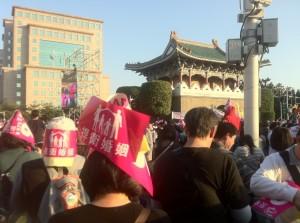 多元成家草案に反対する人のデモ